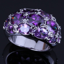 Sweet Oval Purple Cubic Zirconia 925 Sterling Silver Ring For Women V0585
