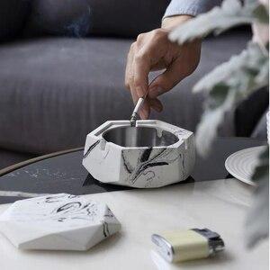 2 pçs/set Ins Cinzeiro de mármore projeto geométrico De Concreto molde de silicone diy molde de Cimento com caixa De Armazenamento tampa de decoração para casa