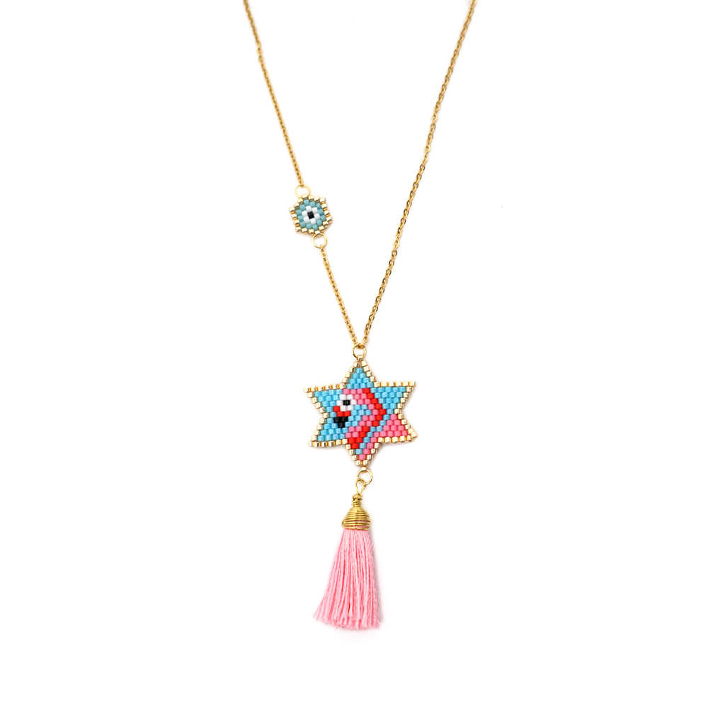 Go2boho MIYUKI Necklaces Women Pink Flamingo Necklace Evil Eye Tassel Jewelry Choker Gift Handmade Stainless Steel Gold Chain