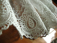 30 yards off white lace trim, embroidered cotton lace fabric
