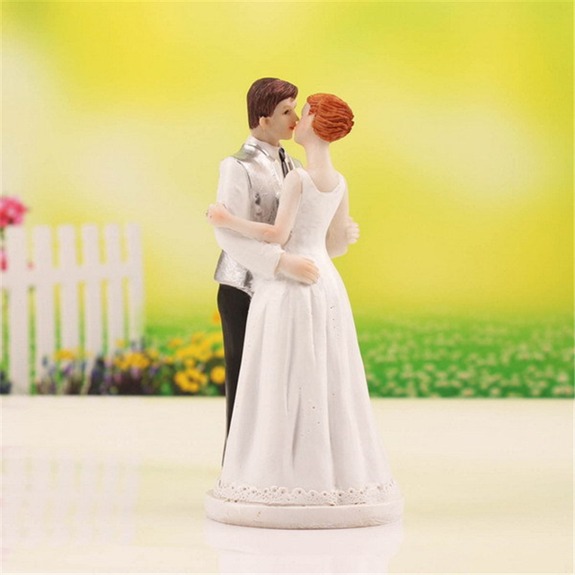 Wedding Kiss Cake Topper Figurine Bride Groom Wedding Cake Topper ...