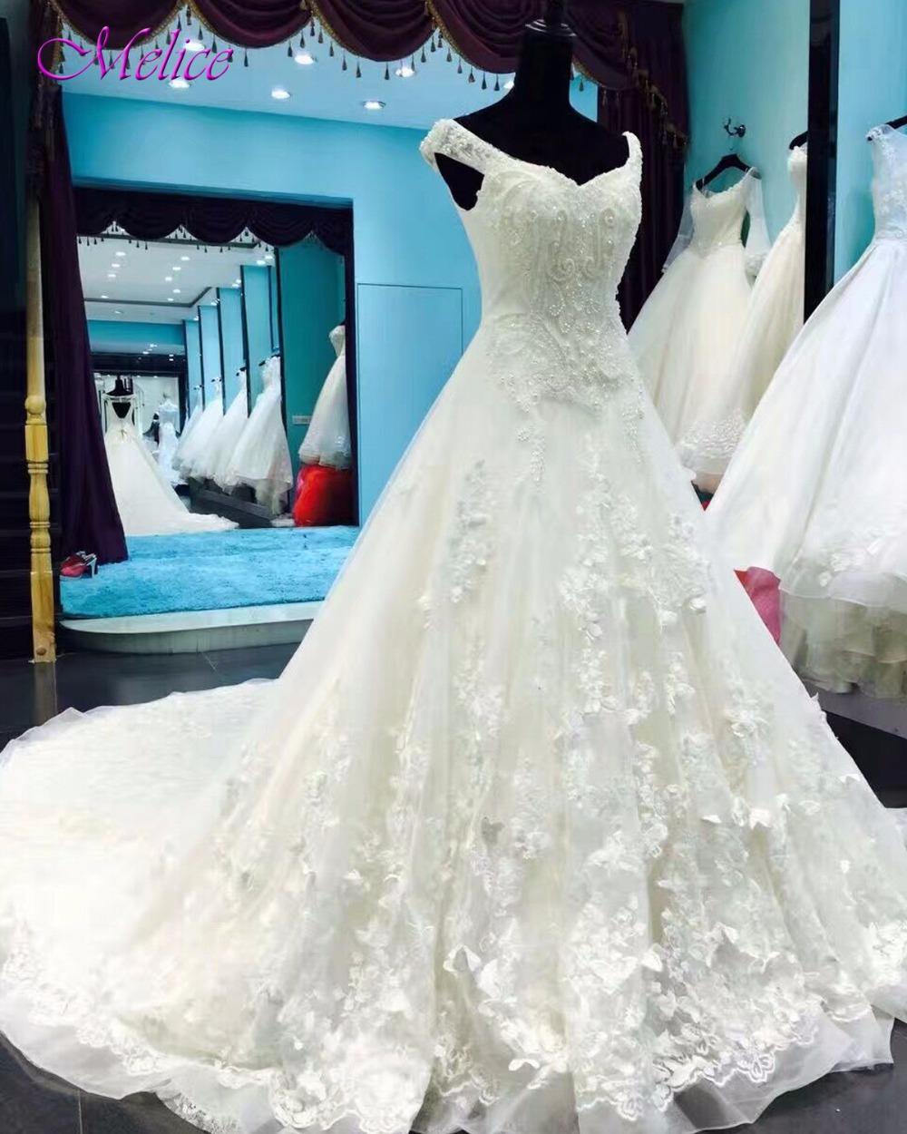 Melice Robe De Mariage Sweetheart Neck Backless Princess Wedding Dress 2019 Royal Train Appliques A-Line Wedding Gown Plus Size