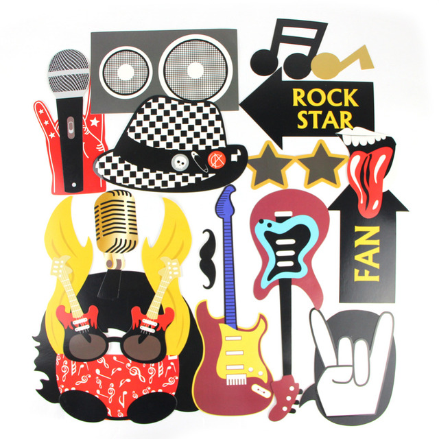 18pc rock star party photo booth props for birthday party rockstar party concert vibes rock n. Black Bedroom Furniture Sets. Home Design Ideas