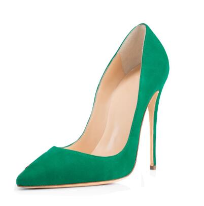 Spring and autumn woman black/green/dark green pointed toe shallow high heel shoes Super high thin heel pumps Dress shoes