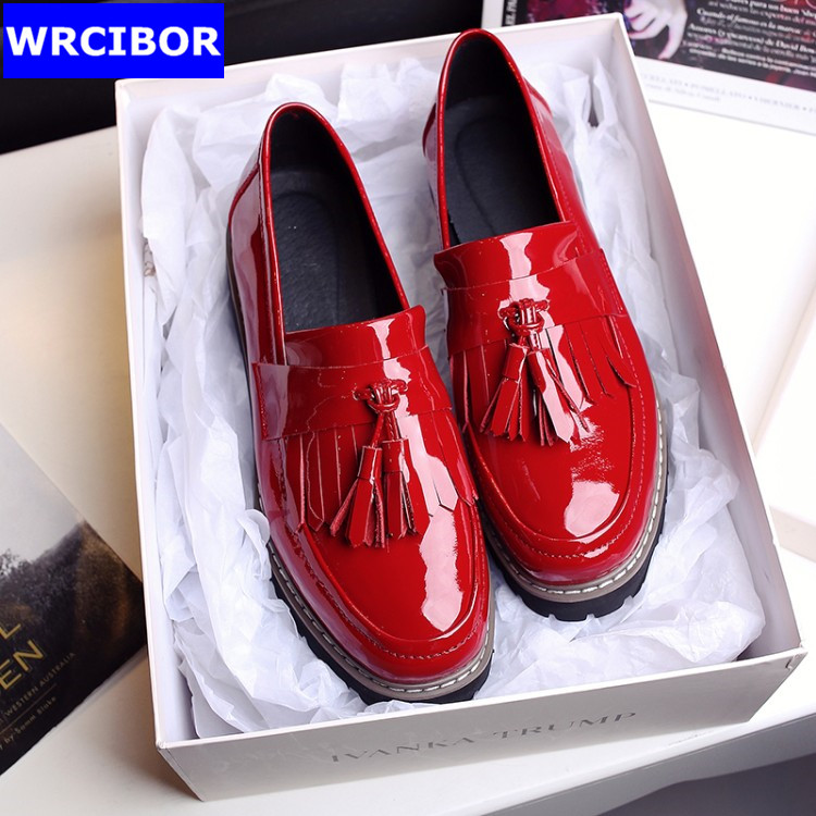 Patent leather Flat Oxford Shoes font b Woman b font Flats 2017 Fashion tassel British style