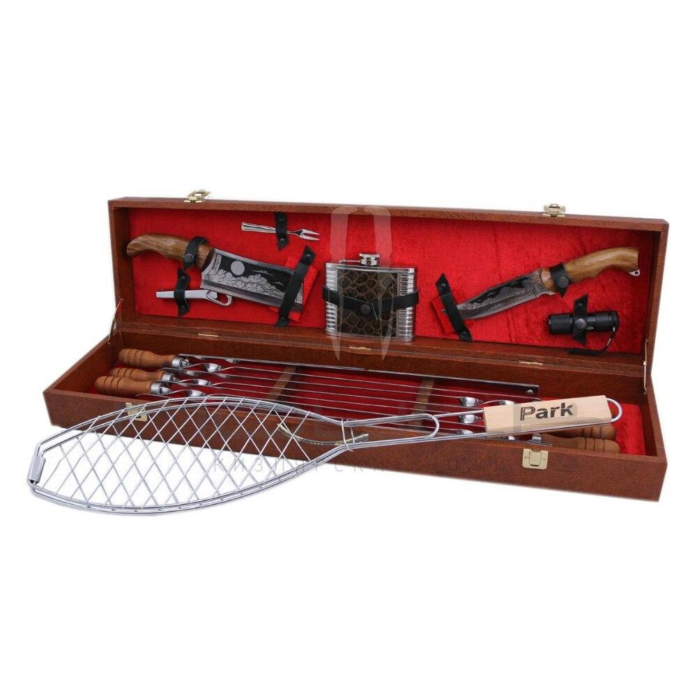 Conjunto de barbacoa en una caja de regalo brochetas, 6 piezas, - Cocina, comedor y bar