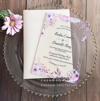 CA0888 Floral acrylic wedding invitation customized fancy shape with envelope liner   30PCS
