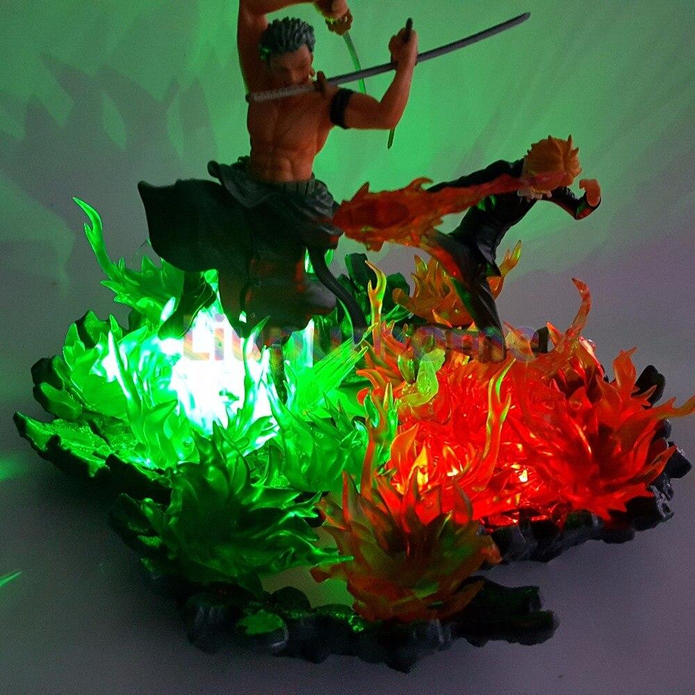 Una pieza Zoro Sanji luces Led escena de fuego Anime una pieza luces de noche modelo juego de mesa lámpara - 3