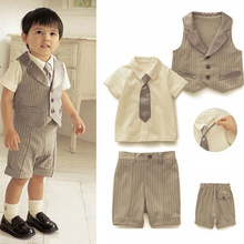 Baby Boys Kids Gentleman Set 4pcs T Shirt Vest Tie Pant Outfits Clothes Age 0 3Y