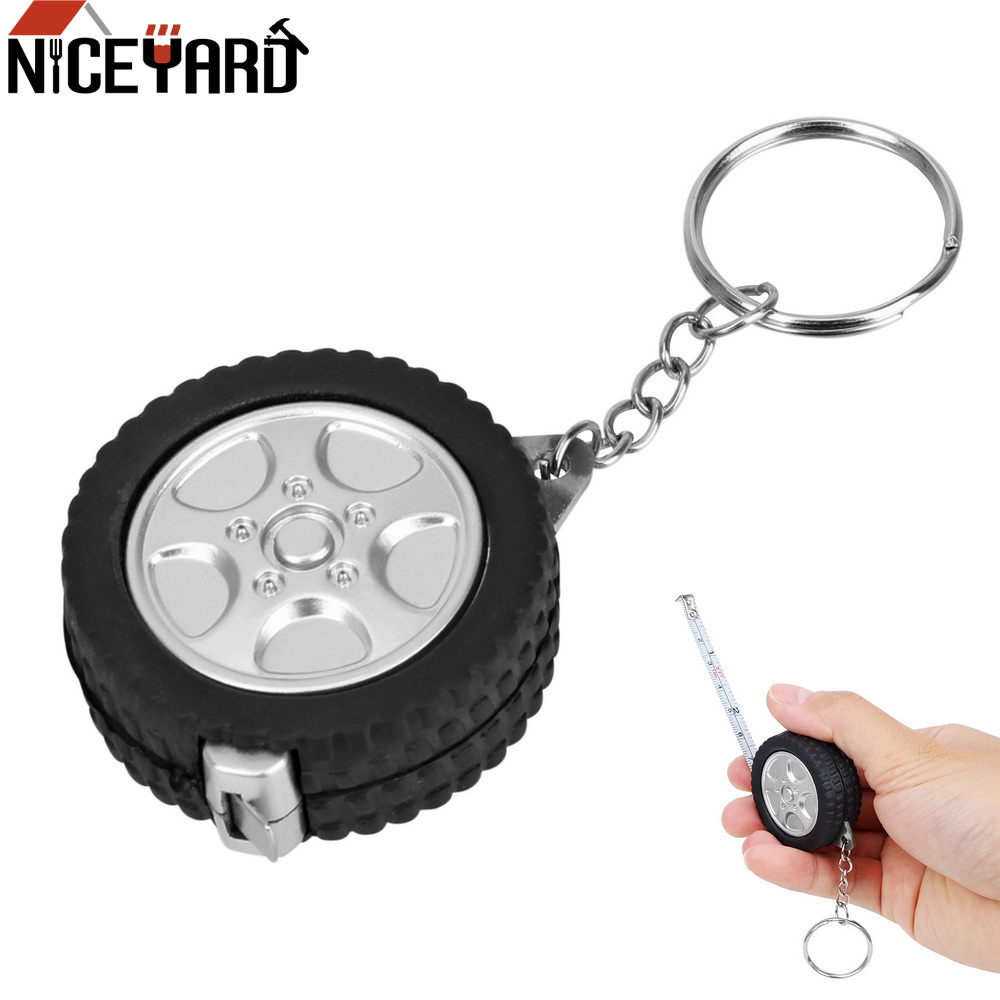 NICEYARD 1m Tire Shape Centimeter/Feet For Travel Camping Tape Measure Mini Retractable Tape Sewing Tool Keychain Ruler