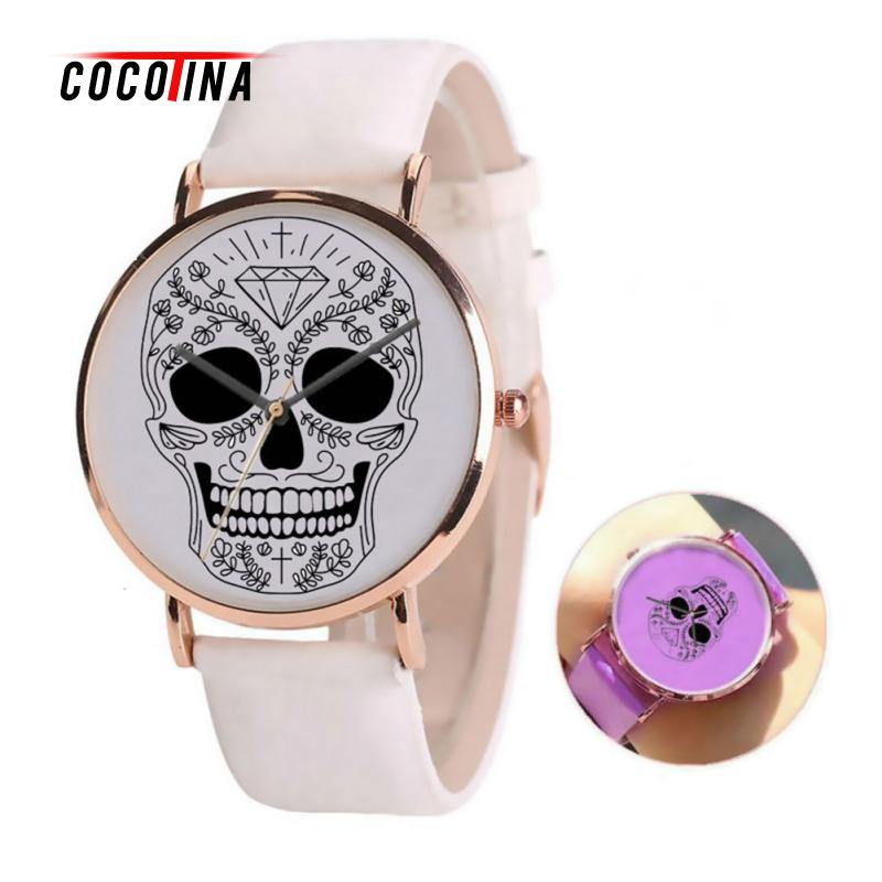 COCOTINA Luxury Change Color Watch In the Sunshine Fashion Women Dress Casual Quartz Watches Leather Skull Wristwatch LSB4703