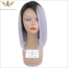 7A Short Cut Full Lace Bob Wigs With Baby Hair Ombre Grey Human Hair Lace Wigs Glueless Front Lace Ombre Gray Human Hair Wigs