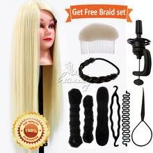 "26 ""Friseur 100% Kunsthaar Kosmetik Mannequinkopf Styling Puppe Hochtemperaturfaser-haar Salon Modell + Geflecht Sets"