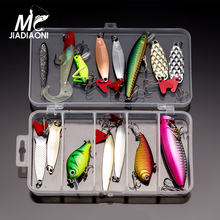 JIADIAONI ice 44 pieces Fishing Lure Set Minnow/Popper/Wobbler Spoon Metal Lure Soft Bait Carp Fishing Lure Fly Fishing Tackle