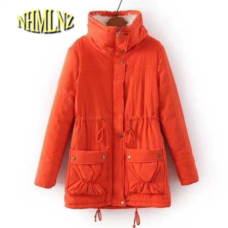 Latest Winter Coat Women Big yards Fashion Jacket Pure color Big pocket Long-sleeved Jacket Lambs wool Warm Cotton Jacket  ok246