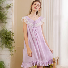 Wasteheart Women Fashion Cotton Purple Sexy Sleepwear Nightdress Lace Bow Nightwear Sleepshirts Luxury Nightgown Female Gown