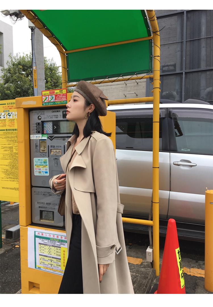 Spring Autumn Maxi Long Women's Loose Trench Coat With Belt Khaki & Black Plus Size Korean Style Windbreaker Outwear 22