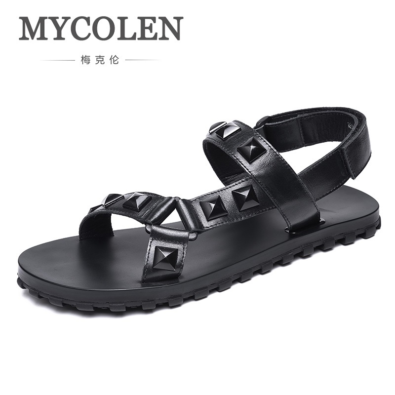 MYCOLEN 2018 Summer Leather Men Sandals Black Simple Men Shoes Comfortable Beach Mens Shoes Leather Sandale Homme Cuir