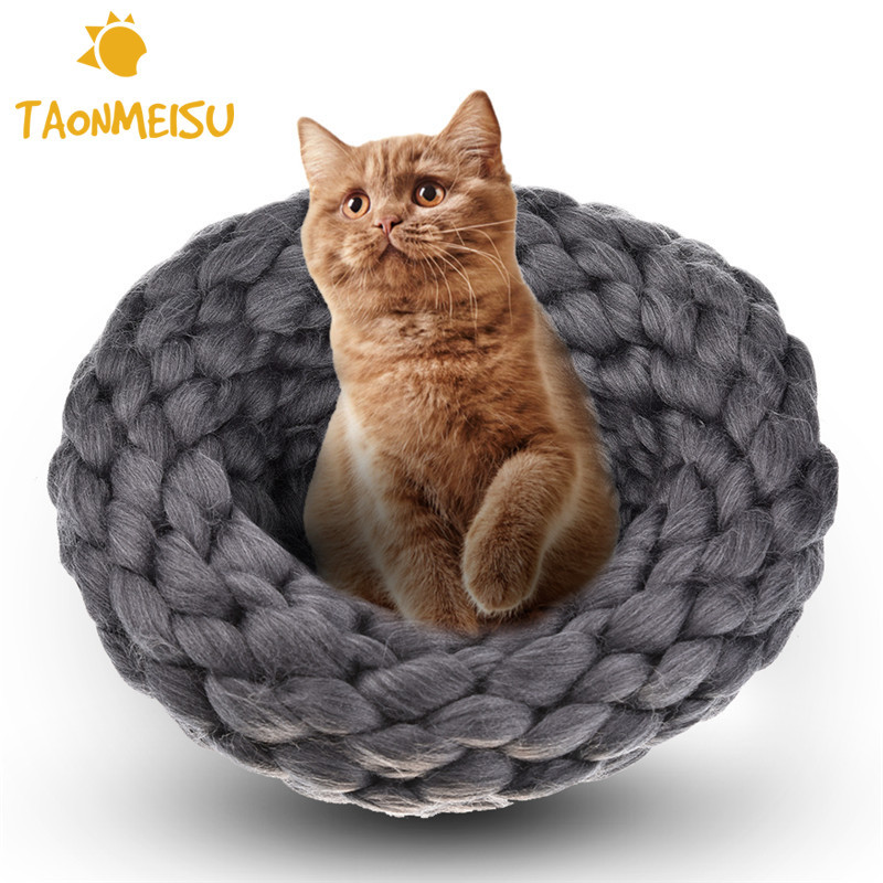 Fashion Woolen Cat Nest Hand Knitting Cat Beds Thickening Wool Sleeping Bag