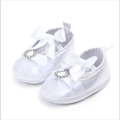 New White Baby Shoes Lovely Bowknot Infants First Walkers Girls Princess Shoes