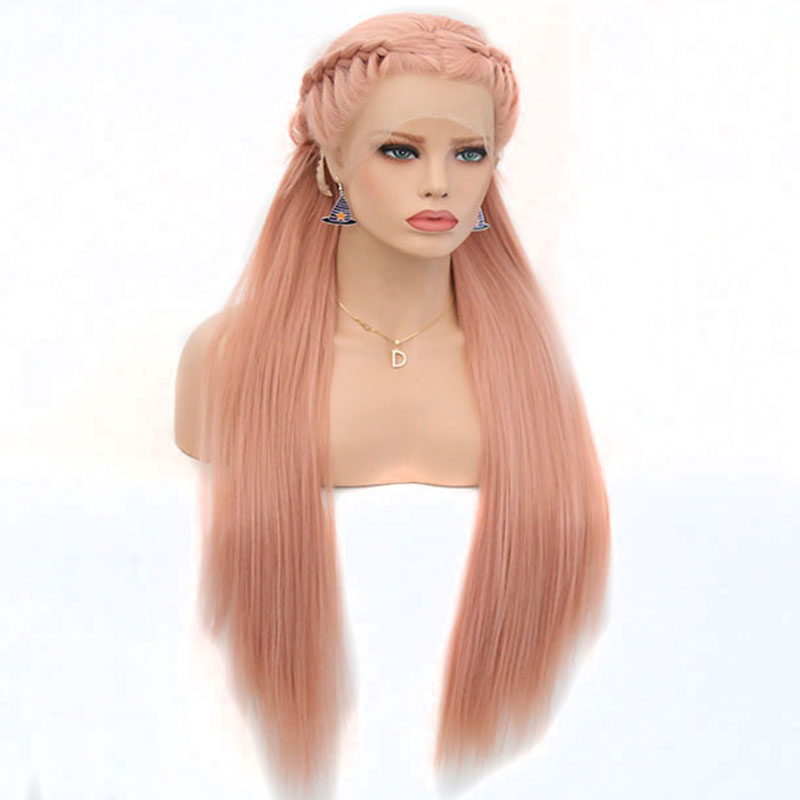 Bombshell Gold Rose Pink Or Blonde Braid Synthetic Lace Front Wig Natural Hairline Heat Resistant Fiber