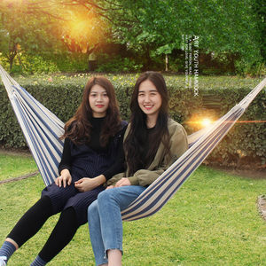 Image 1 - T Canvas Dorm Hanging Chair Navy Blue and White Camping Hammock Outdoor Two person Rock Swing Chair Dropshipping Bed