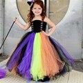 Handmade New Girls Witch Halloween Tutu Dress Kids Baby Princess Tulle Dress Children Festival Birthday Costume TS090