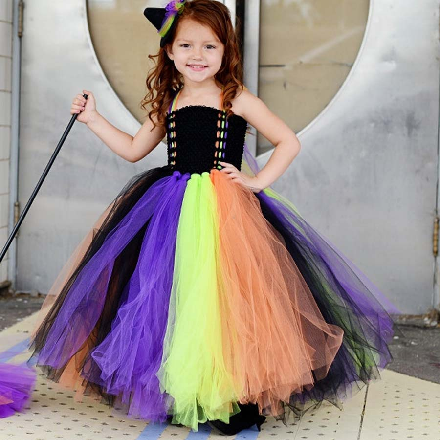 handmade new girls witch halloween tutu dress kids baby princess tulle dress children festival birthday costume - Halloween Tutu Dress