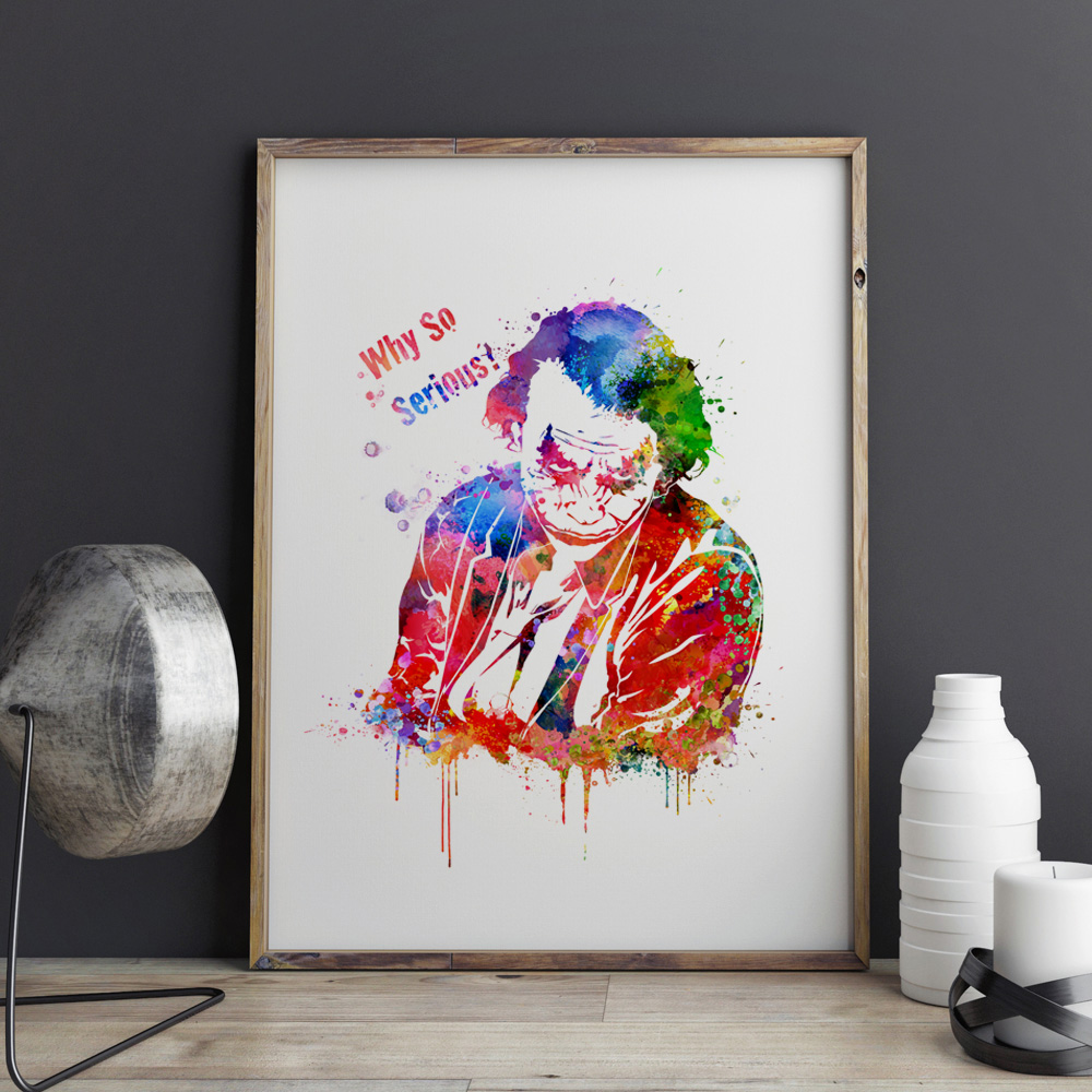 Joker watercolor painting why so serious poster wall art for Home interiors and gifts framed art