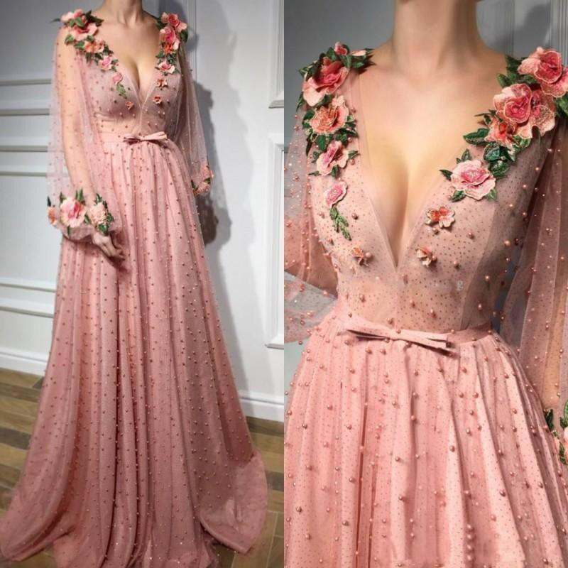 2019 A Line Prom   Evening     Dresses   Long Sleeves Hand Made Flower Pearls Floor Length Prom Custom Made Party Gowns