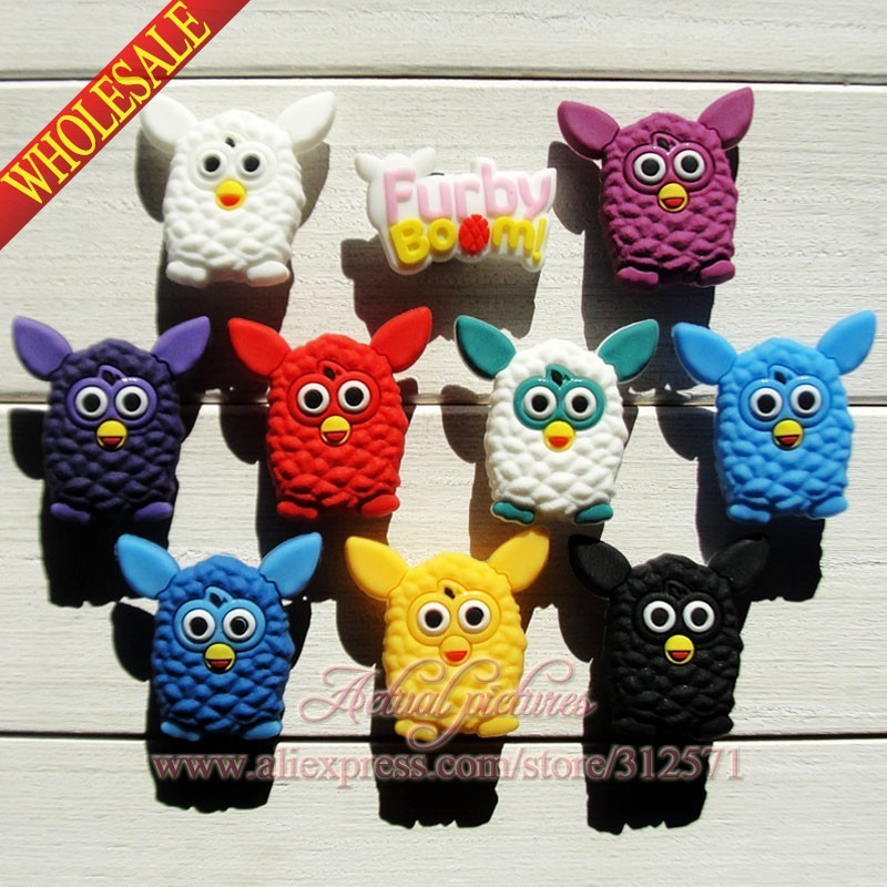 Free shipping,10Pcs Furby Boom PVC shoe accessories/shoe charms For Silicone Wristbands&shoes with holes,shoe buckle,for kids free shipping new 22pcs avengers pvc shoe charms shoe accessories shoe buckle for wristbands bands