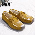 HKR 2017 Winter women flats leather suede slip on tassel shoes ballet flats cowhide flexible plus cotton boat shoes loafers 1318