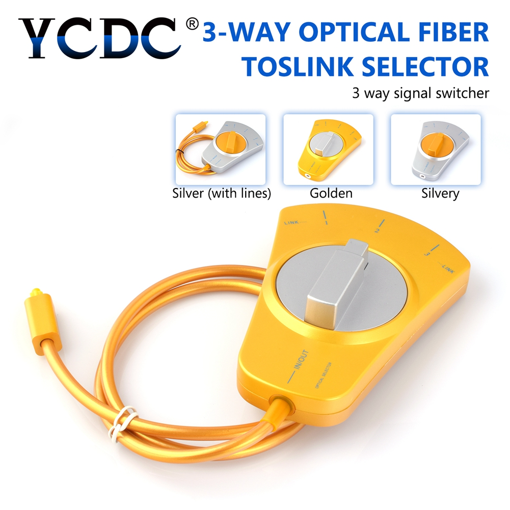 YCDC Digital Audio Optical Fiber Cable Toslink 3-Way Selector Splitter 3 To 1 Switch W 80cm Fiber cable For MD,DVD,VCR CD player