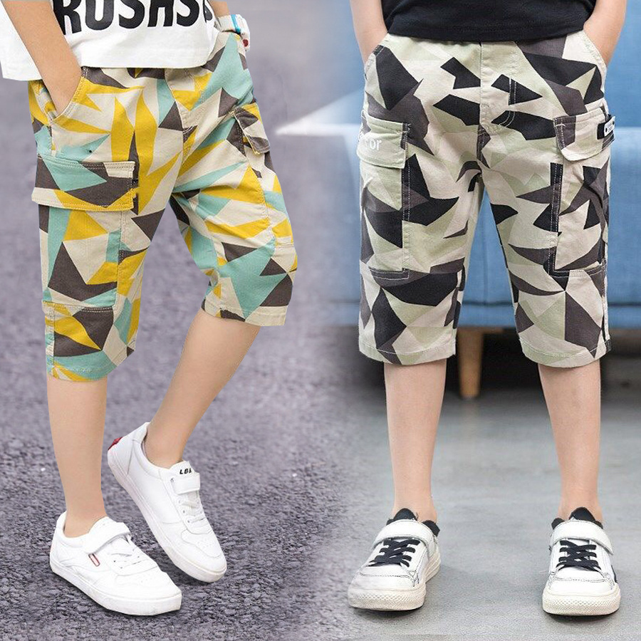 Camouflage Boy   Shorts   Teenager Summer Casual Mid Waist Cotton Bottom Children Geometric   Short   Pant Kids Trousers 4Y-14Y