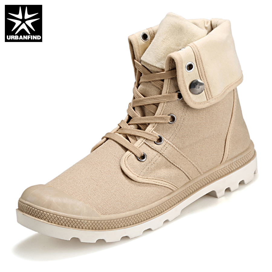URBANFIND Men Casual Shoes Man Boots Plus Size 39-46 High Top Canvas Shoes 2017 Luxury Outdoor Lace Up Male Flat Shoes Hot Sale