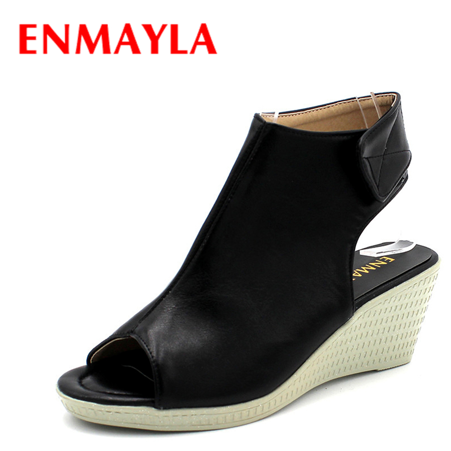 ENMAYLA Women Hook & Loop Sexy High Heels Peep Toe Pumps Black Fashion Wedges Platform Shoes Woman Spring Autumn Sandals Black new women pumps transparent wedges high heels ankle pointed toe high heels pring autumn sexy shoes woman platform pumps