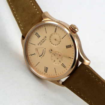 42mm parnis rose golden dial power reserve ST 1780 date automatic mens watch