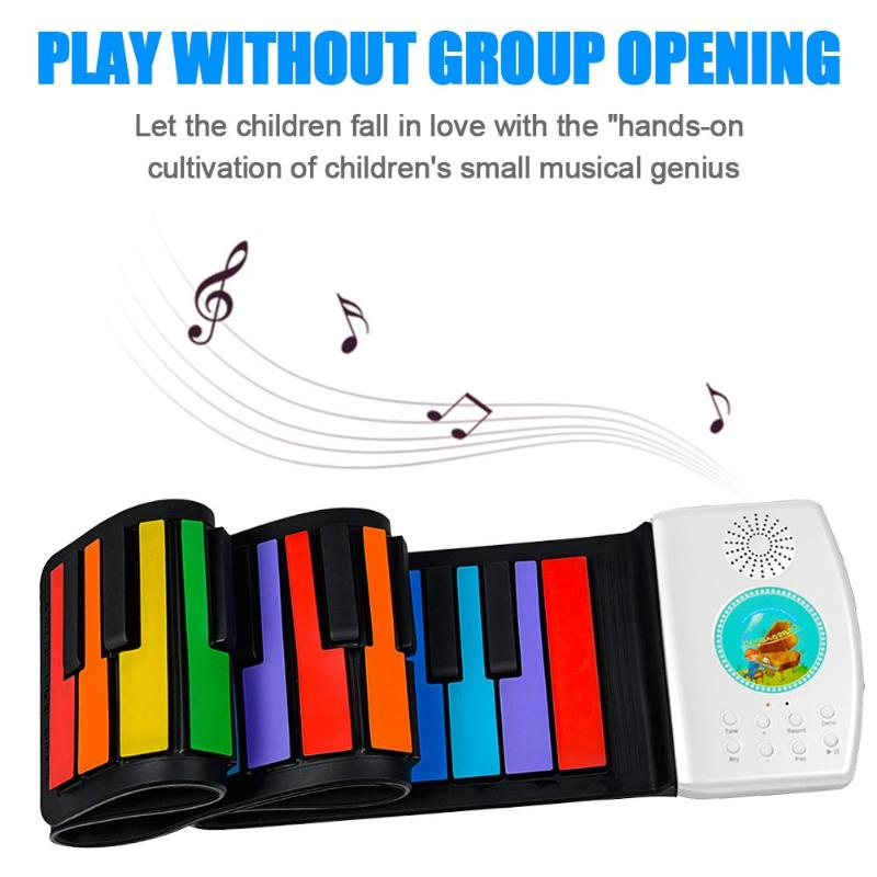 49/88 Keys Roll Up <font><b>Piano</b></font> <font><b>Digital</b></font> <font><b>piano</b></font> Flexible Silicone Folding Electronic Keyboard for Children Student Musical Instrument image
