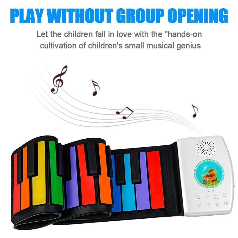 Multi Portable 49/61/88 touches retrousser Piano Flexible Silicone pliant clavier électronique pour enfants étudiant Instrument de musique