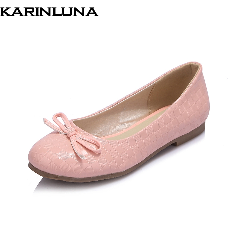 KarinLuna on sale quality large size 30-43 woman Flats Shoes Woman round toe slip on Women Beathable white pink Shoes woman fashion women shoes woman flats high quality comfortable pointed toe rubber women sweet flats hot sale shoes size 35 40