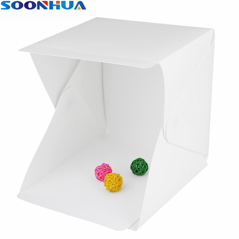SOONHUA Folding Portable Mini LED Photography Lightbox Studio Backdrop Button Mount Photography Box for Smartphone DSLR Softbox