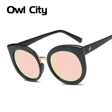 Classic Oval Sunglasses Women Brand Designer Fashion Cats eye Sun glass Clear Frame Mirror Lens Summer Shades UV400 Eyewear