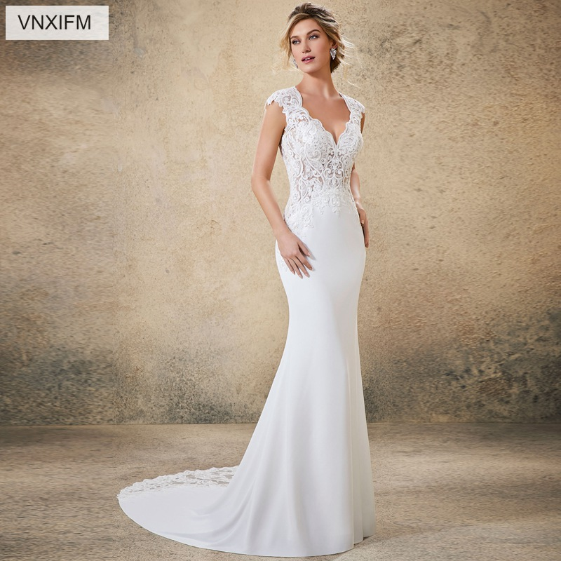 VNXIFM 2019 Boho Wedding Dress Sexy Mermaid Chiffon Backless Beach Sweetheart Wedding Gown Appliques Custom Made