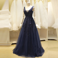 Navy Blue Evening Dresses A Line V Neck Sleeveless Sexy Backless Mother Of Bridal Robe