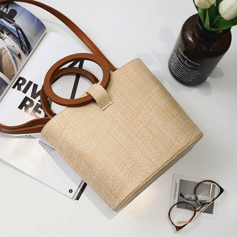 Summer Fashion Women Straw Handbag Tote Boho Style Holiday Beach Woven Bucket Bag Leisure Shoulder Bag Drawstring Crossbody Bag
