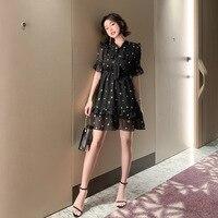 Elegant Print Chiffion Dresses Bow Collar Short Sleeve Vintage Dress Summer 2019 Women Office Bodycon Sexy Party Ladies Dress