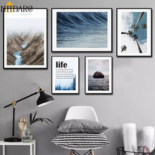 Nordic Modern Landscape Seascape Life Quote Canvas Print Painting Poster Art Wall Pictures for Living Room Home Decor No Frame(China)