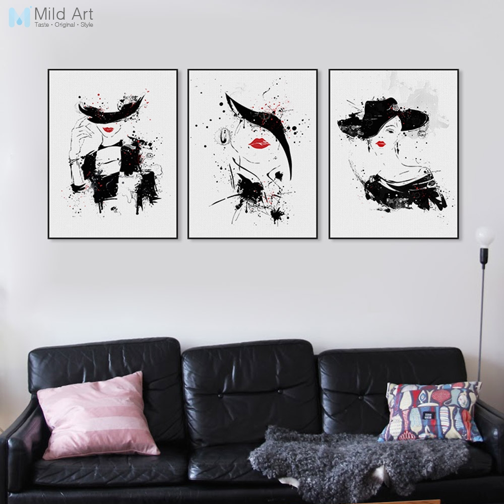 Us 3 21 49 Off Black White Beautiful Woman Red Lip Fashion Lady Posters Nordic Girls Room Wall Art Picture Canvas Paintings Home Decor No Frame In
