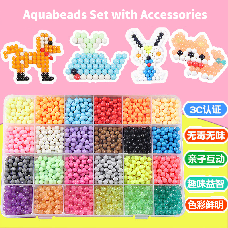 24 Colors 3600pcs Water Spray Magic Aqua Beads Hama Beads DIY Kit Aquabeads Ball Puzzle Game Fun DIY Handmaking 3D puzzle Toys