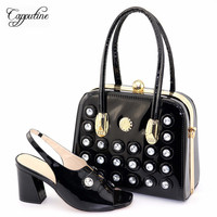 Capputine Latest Italian Black High Heels Shoes And Bag Set Hot Selling Rhinestone African Women Shoes And Bag Set For Party